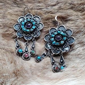 Turquoise amethyst sterling vintage earrings